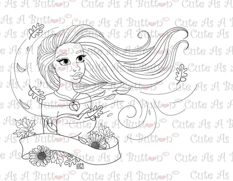 Cute As A Button Designs IMG00491 American Indian Princess Digital Digi Stamp