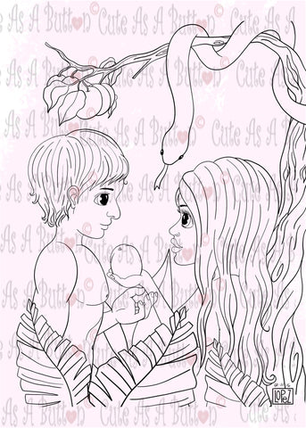 Cute As A Button Designs IMG00503 Adam and Eve Bible Journaling Illustrated Art Digital Digi Stamp