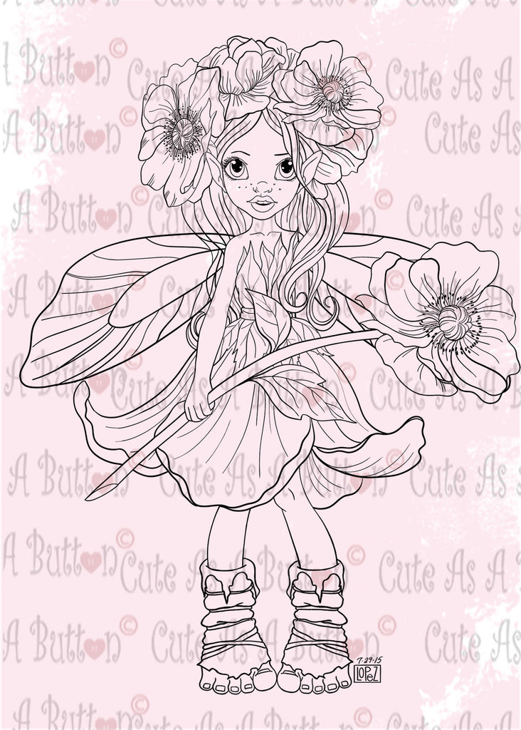 Cute As A Button Designs IMG00508 Poppy Fairy Digital Digi Stamp