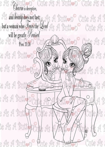 Cute As A Button Designs IMG00513 Makeup Time Digital Digi Stamp