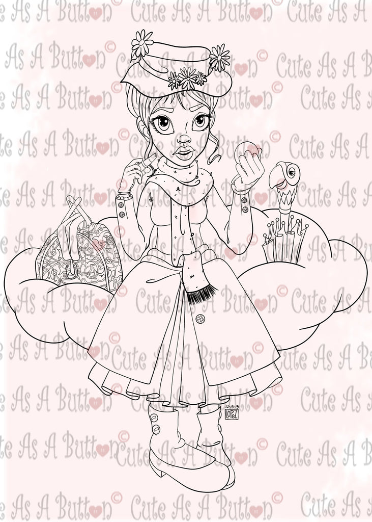 Cute As A Button Designs IMG00520 Mary PoppinsDigital Digi Stamp