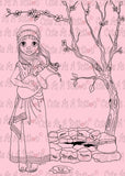 Cute As A Button Designs IMG00444 Woman at the Well - Bible Journaling Bookmark Digital Digi Stamp