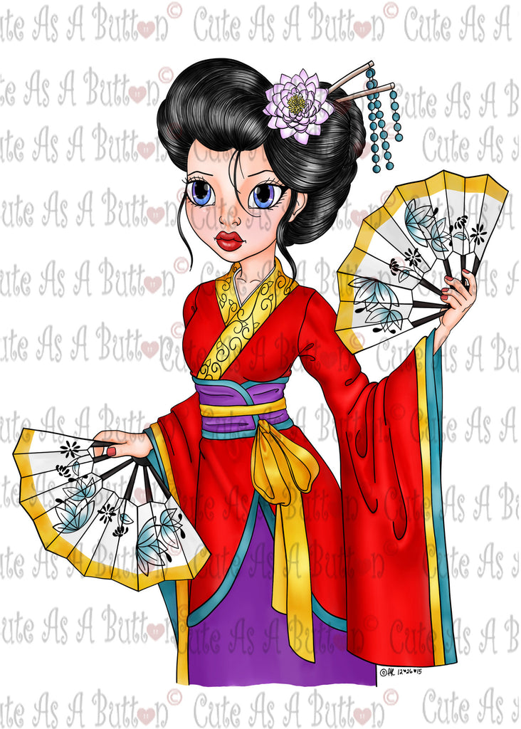 Cute As A Button IMG00391 Pre-Colored GEISHA Dance Digital Digi Stamp