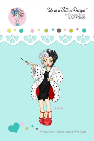 Cute As A Button Stamps RS00323 Cruella Clear Cling Rubber Stamp
