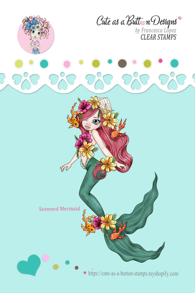 Cute As A Button Stamps RS00308 Seaweed Mermaid Clear Cling Rubber Stamp
