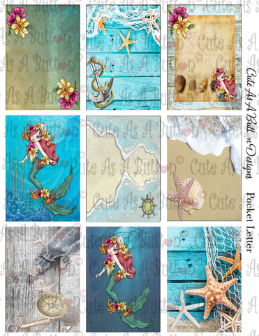 Cute As A Button Designs PL00003 Seaweed Mermaid Pocket Letter KIT Instant Download