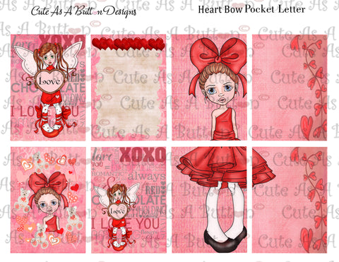 Cute As A Button Designs PL00006 Heart Bow Pocket Pen Pal Letter KIT Instant Download