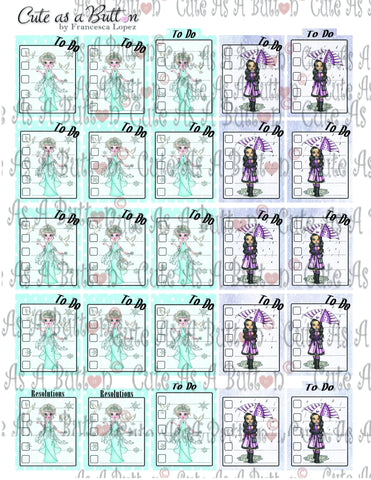 Cute As A Button Designs Digital Download PLR00008 Winter ToDo Planner Stickers