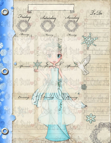 PLR00004 Printable Winter Planner 8.5 x 11 inch