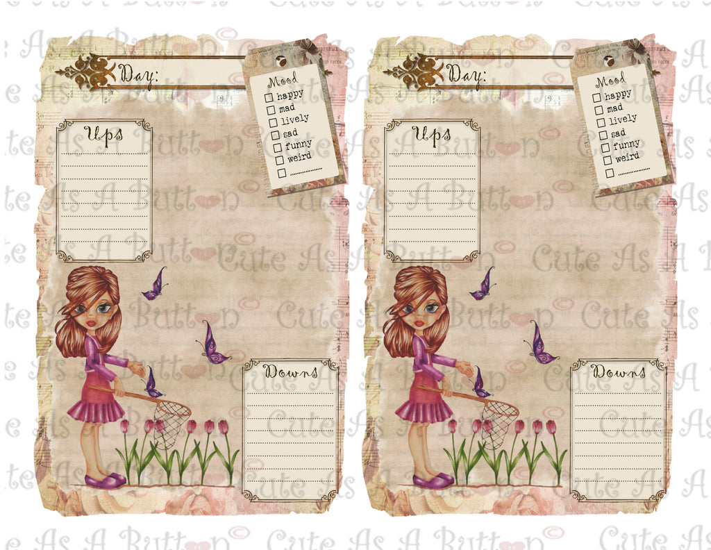 PLR00002 Chasing Butterflies Printable Diary Pages Journal Pages Old  Tattered Shabby Chic  Diary Paper Printable