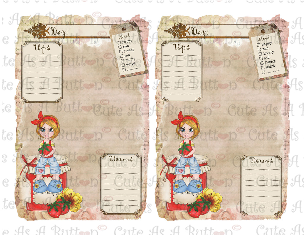 PLR00005 Strawberry Jam Diary Pages Journal Pages