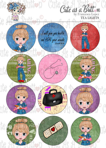 Cute As A Button Designs TL00046 Nurse Gen Tea Light Toppers