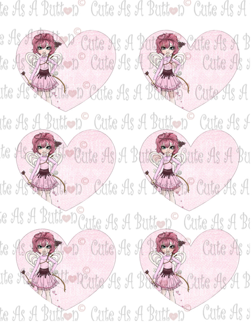 Cute As A Button Designs VH00002 Colored Printable Valentine Hearts CUPID