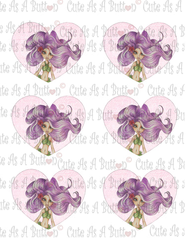 Cute As A Button Designs VH00004 Colored Printable Valentine Hearts HAWAIIAN MERMAID