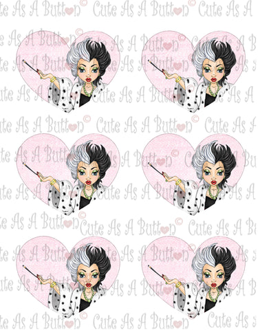 Cute As A Button Designs VH00005 Colored Printable Valentine Hearts CRUELLA