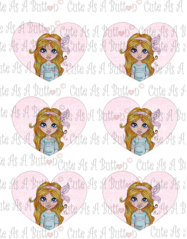 Cute As A Button Designs VH00008 Colored Printable Valentine Hearts ALANA SHELL COLLECTOR