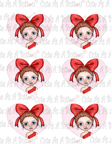 Cute As A Button Designs Cute As A Button Designs VH00009 Colored Printable Valentine Hearts HEART BOW