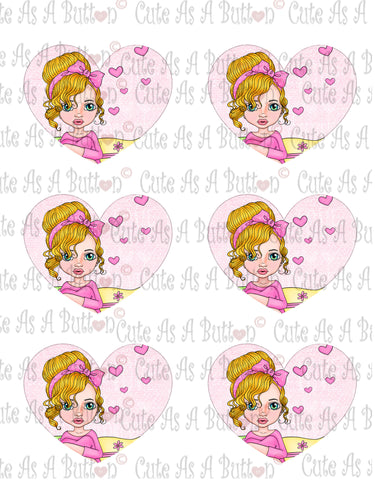 Cute As A Button Designs VH00010 Colored Printable Valentine Hearts THINKING OF YOU
