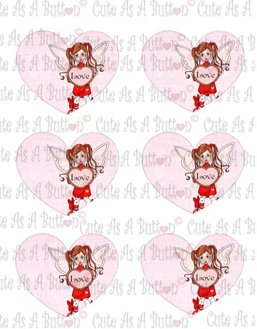 Cute As A Button Designs VH00011 Colored Printable Valentine Hearts LOVE FAIRY
