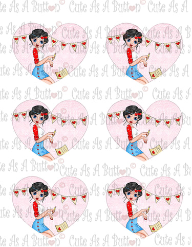 Cute As A Button Designs VH00012 Colored Printable Valentine Hearts LOVE LETTER