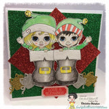 IMG00014 Christmas Elves In Boots Digital Digi Stamp