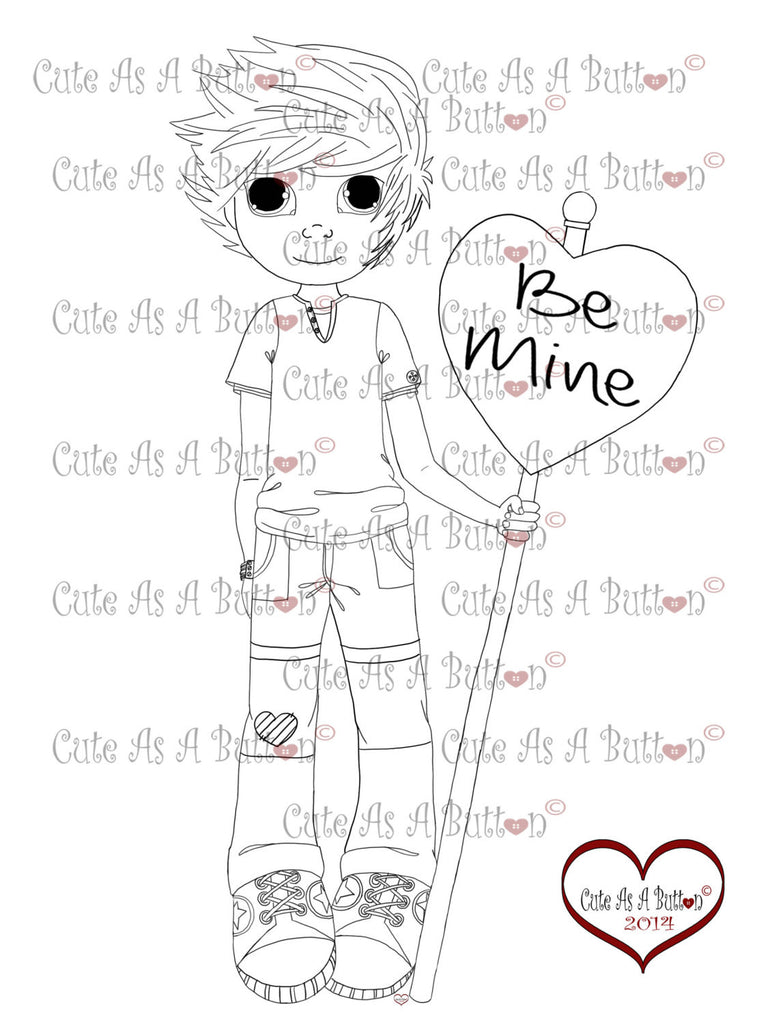 Cute As A Button Stamps Valentine Be Mine Digistamps