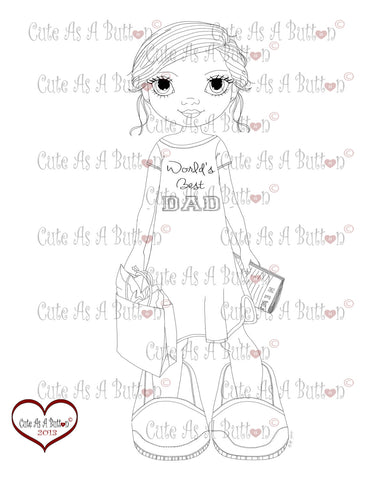 Cute As A Button Stamps Worlds Great Dad Digistamp