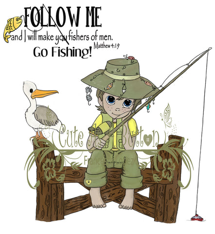 IMG00016 Pre-colored I Will Make You Fishers of Men - Bible Journaling Bookmark Digital Digi Stamp