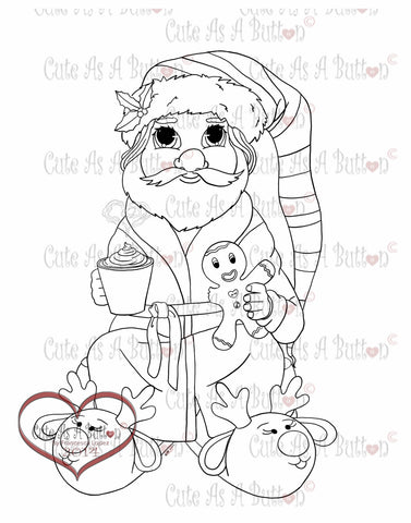 IMG00099 Santa Having Cocoa Digital Digi Stamp