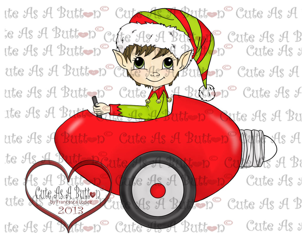 Cute As A Button Digistamps  IMG00124 Pre-colored Christmas Bulb Car Digi Stamp