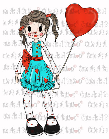 Cute As A Button Digistamps IMG00312 Pre-colored Mopsy Molly Rag Doll Digi Stamp