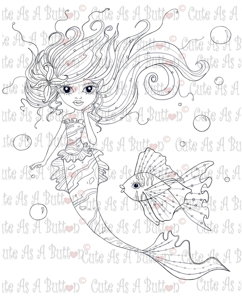 Cute As A Button Stamps Mermaid Sophia Digistamp