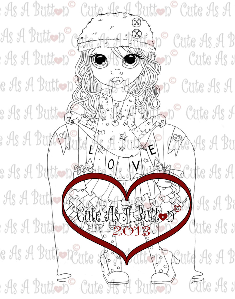 Cute As A Button Stamps Girl Holding Banner Digistamp