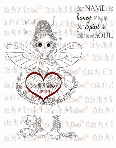 Cute As A Button Honey Fairy Digistamp