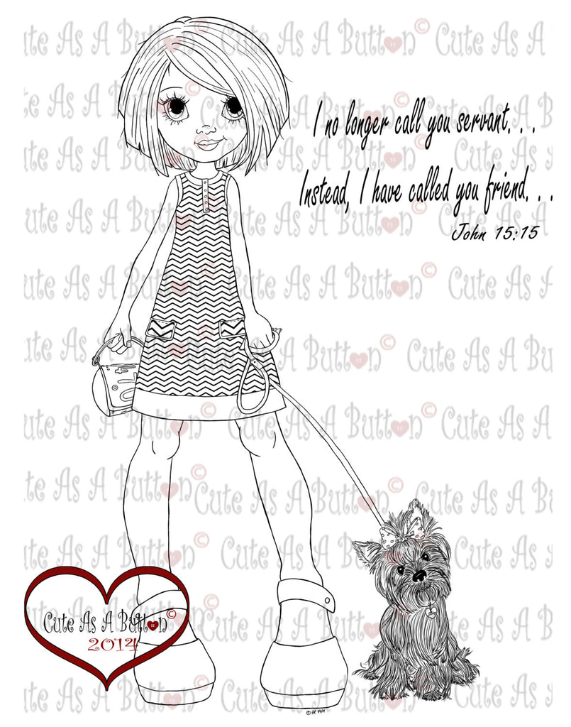 Cute As A Button Stamps Girl with Yorkie Digistamp