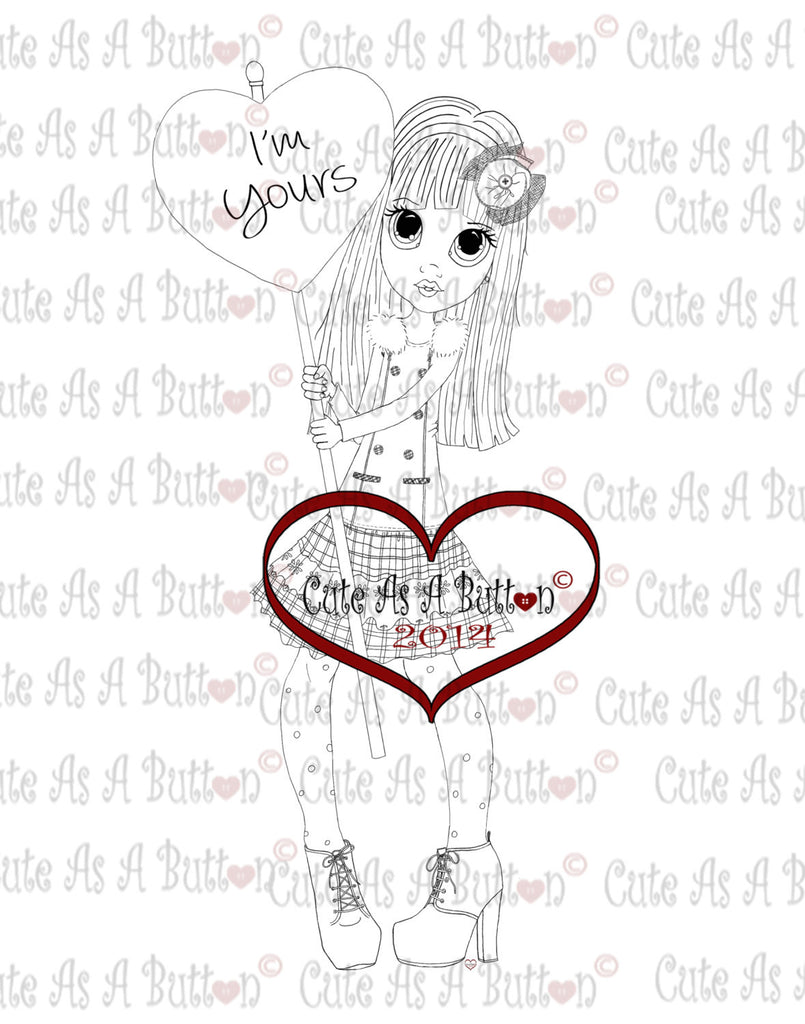 Cute As A Button Stamps I'm Yours Valentine Digistamp