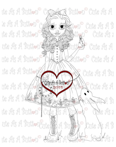 Cute As A Button Stamps Alice In Wonderland Digistamp