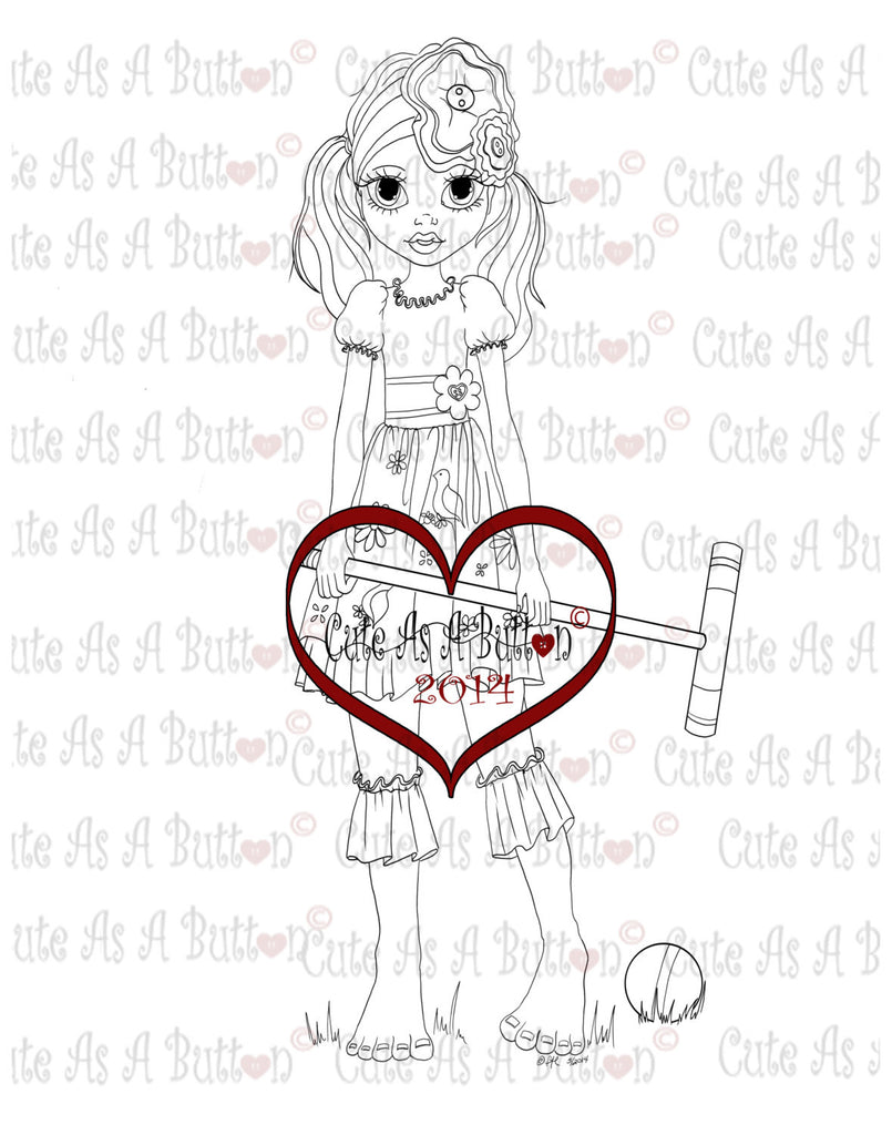 Cute As A Button Stamps Girl Playing Croquet