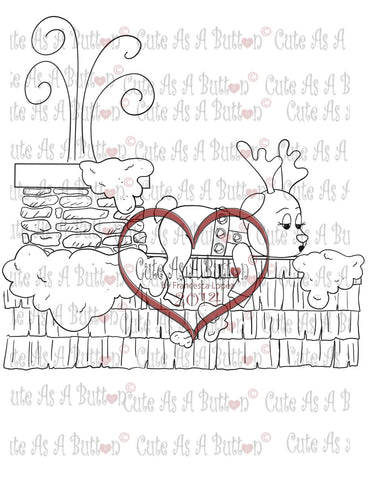 Cute As A Button Stamps Reindeer on Roof digistamp