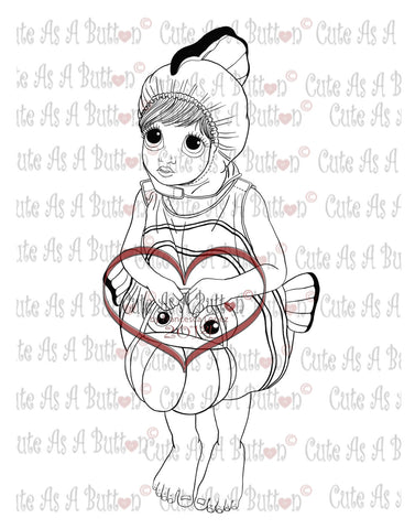 Cute As A Button Stamp Chloe Costume Digistamp