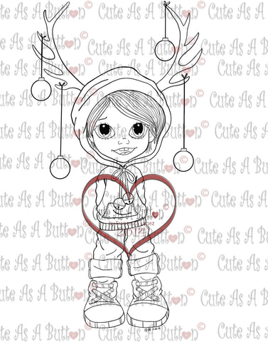 Cute As A Button Stamp Reindeer Ears Boy Digistamp