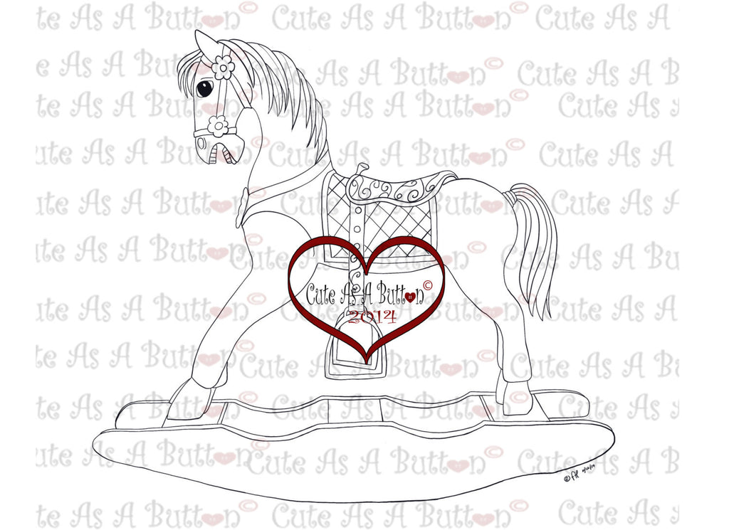 Cute As A Button Stamps Rocking Horse Digistamp