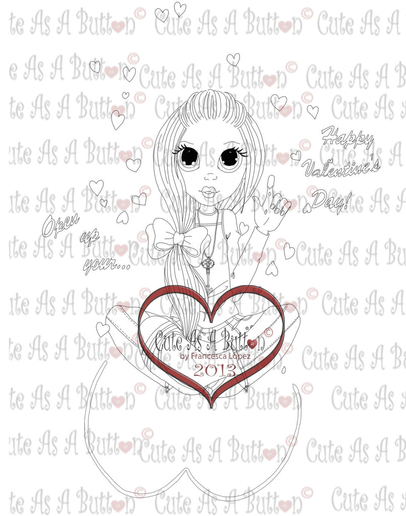 Cute As A Button Digistamps Valentine Lineart