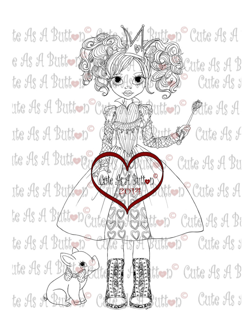 Queen of Hearts Digistamp by Cute As A Button Stamps