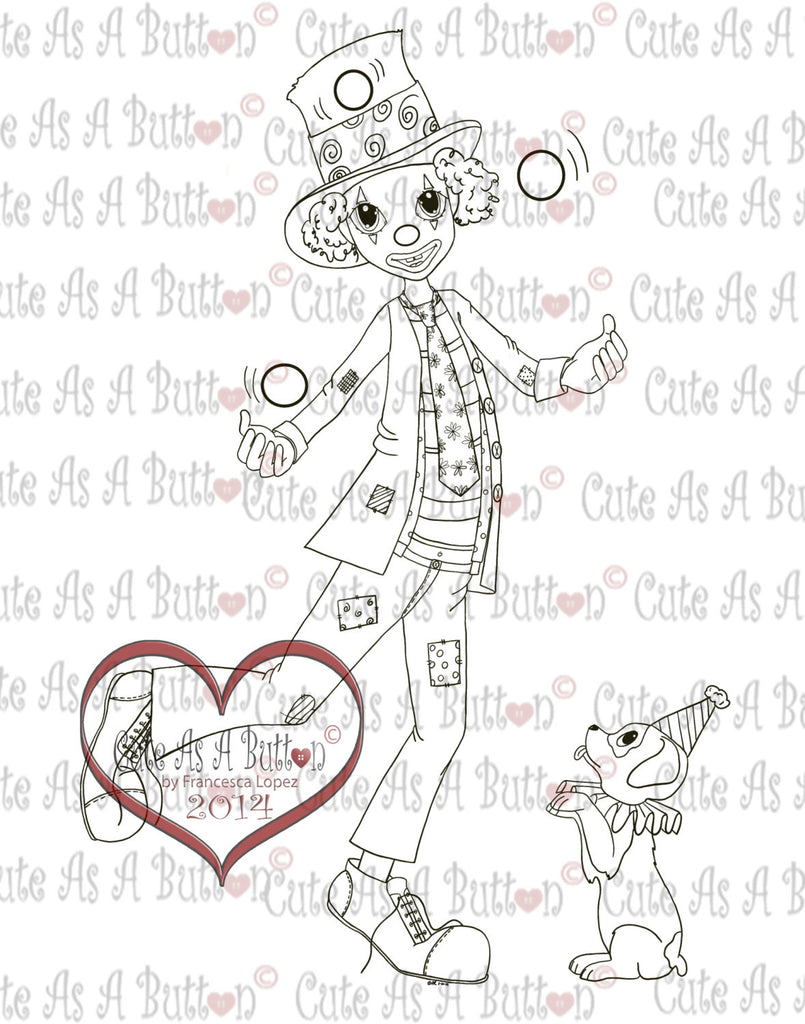Cute As A Button Stamp Juggling Clown Digistamp