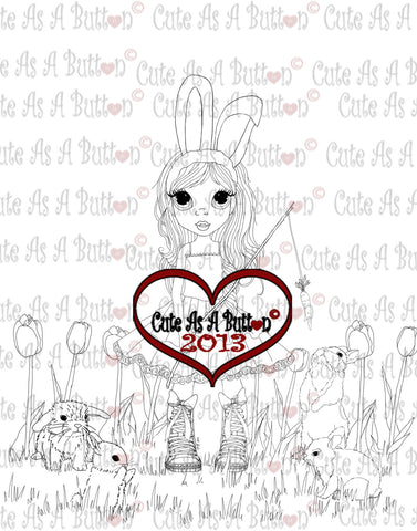 Cute As A Button Stamps Bunny Love Digistamp