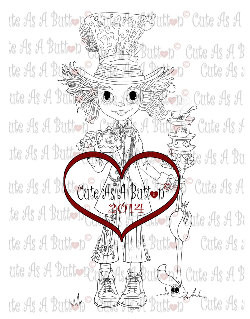 Mad Hatter Digistamp by Cute As A Button Stamps