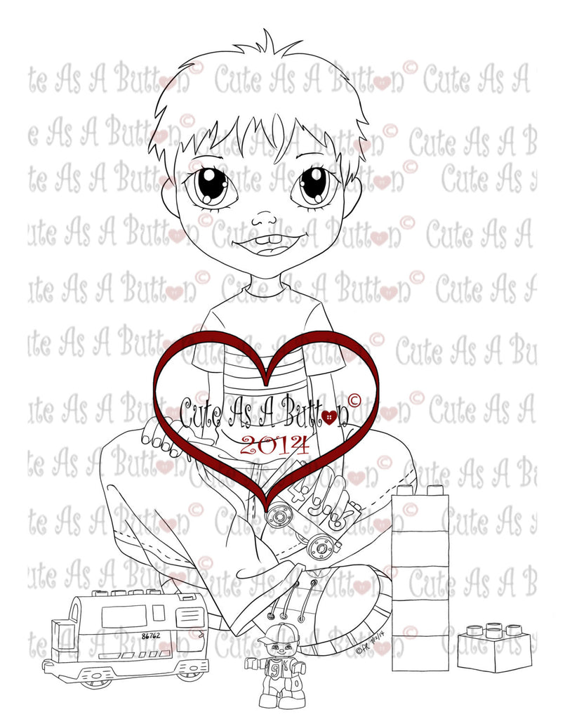 Cute As A Button Stamps kid playing legos Digistamp