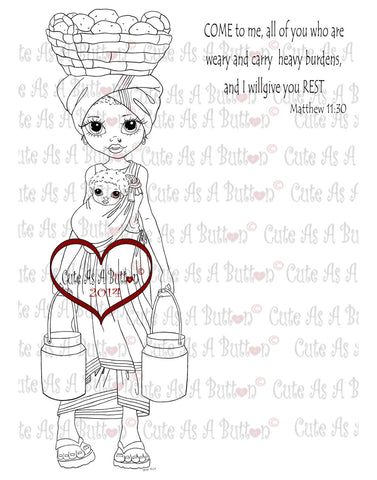 Cute As A Button Stamps African Mom Digistamp