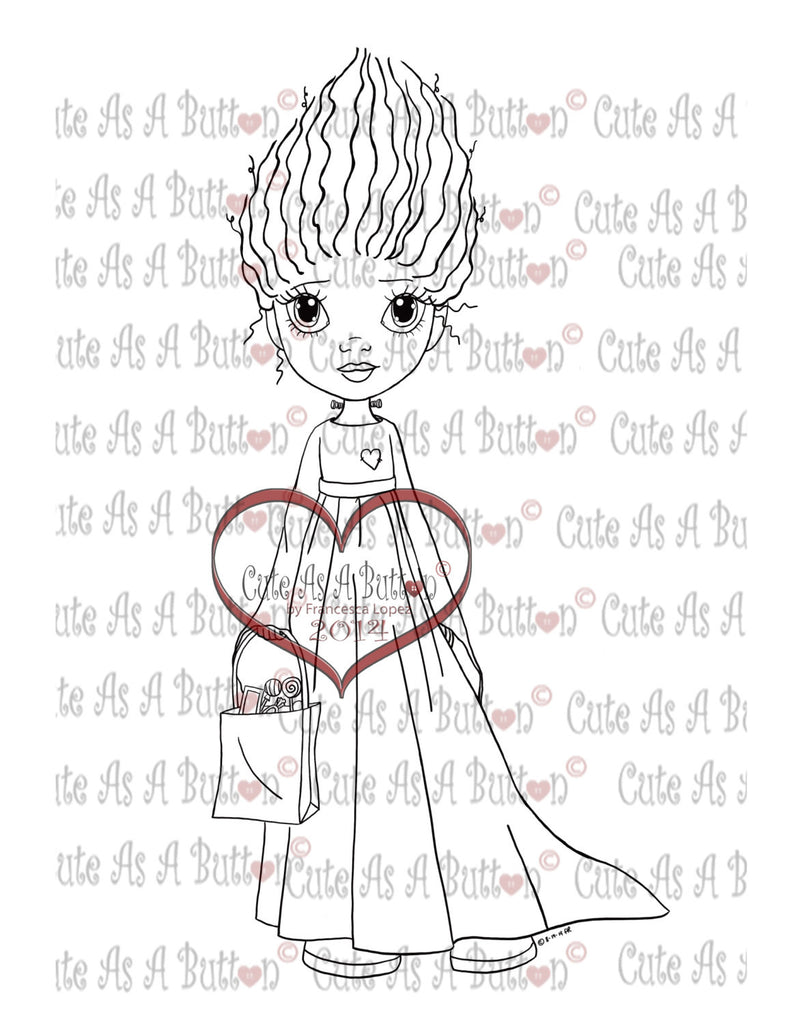 Cute As A Button Stamp Bride of Frankenstein Digistamp